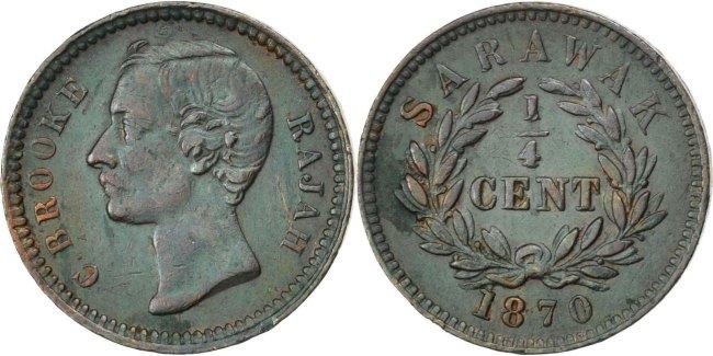 1/4 Cent 1870 Heaton Sarawak Charles J. Brooke EF(40-45)