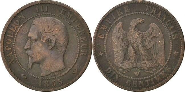 10 Centimes 1855 W Frankreich Napoléon III Napoleon III VF(20-25)