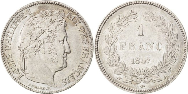 Franc 1847 A Frankreich Louis-Philippe AU(55-58)