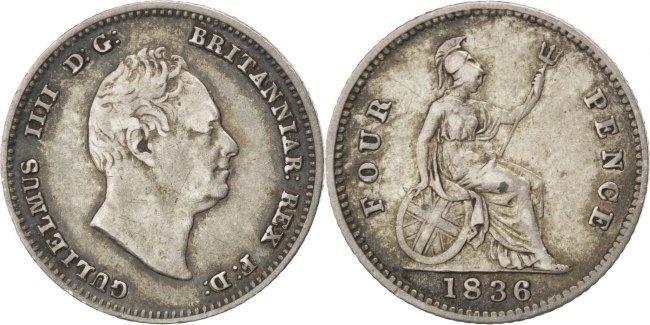 4 Pence, Groat 1836 Großbritannien William IV EF(40-45)