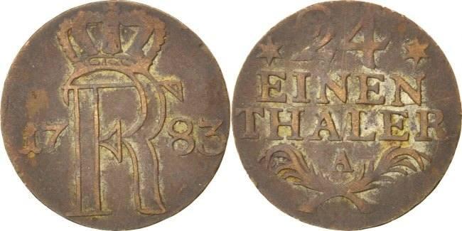1/24 Thaler 1783 A Deutsch Staaten Friedrich II VF(30-35)