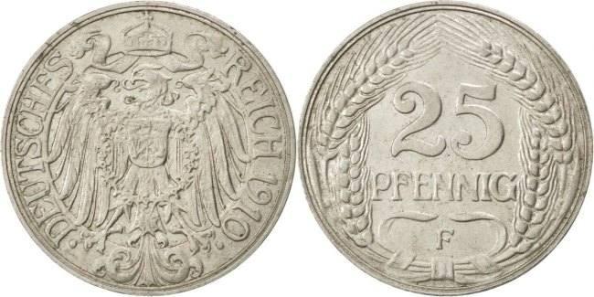 25 Pfennig 1910 F GERMANY - EMPIRE Wilhelm II EF(40-45)