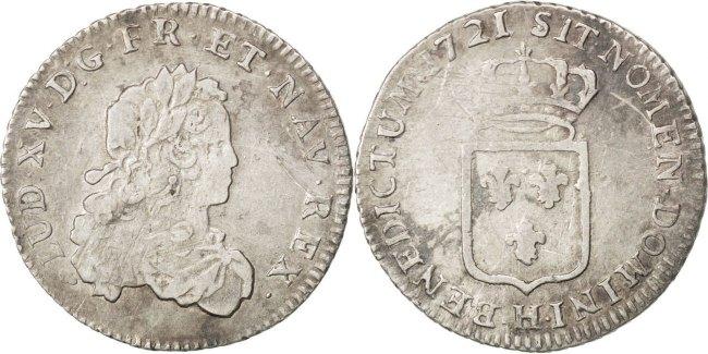 1/3 Ecu 1721 H Frankreich 1/3 Écu de France Louis XV 1715-1774 Louis XV le Bien-Aimé VF(30-35)