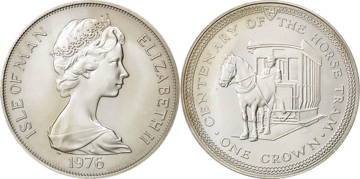 Crown 1976 Isle of Man ISLE OF MAN, Pobjoy Mint, KM #38a, Silver, 38.5, 28.61 UNZ