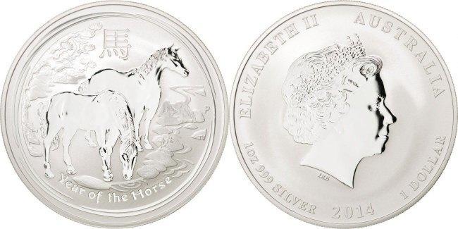 Dollar 2014 P Australien Year of the Horse Elizabeth II MS(65-70)