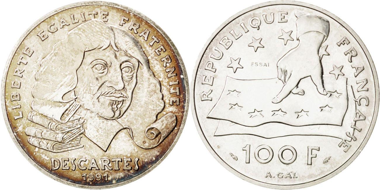 100 Francs 1991 Frankreich Descartes MS(63)