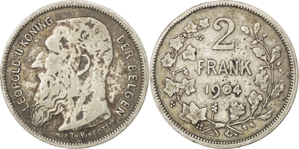 2 Francs, 2 Frank 1904 Belgien VF(30-35)