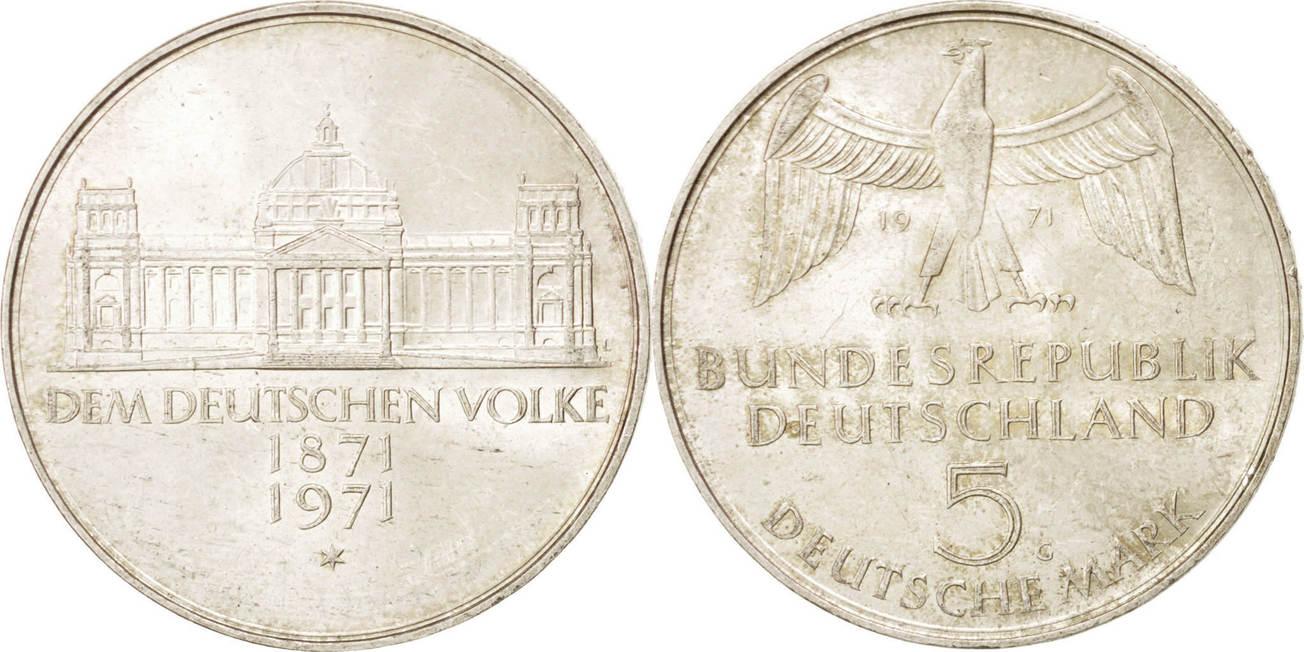 5 Mark 1971 G Bundesrepublik Deutschland Foundation of German Empire, 1871 AU(55-58)