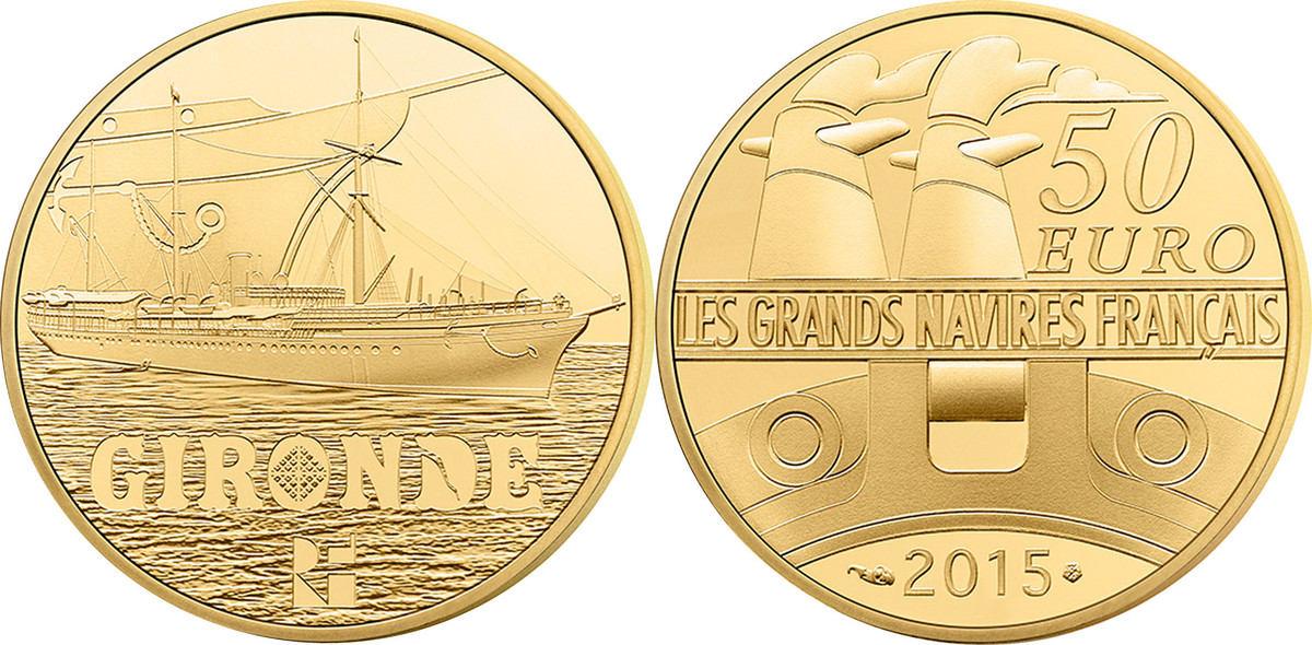 50 Euro 2015 Frankreich France, Gold, 8.45 STGL