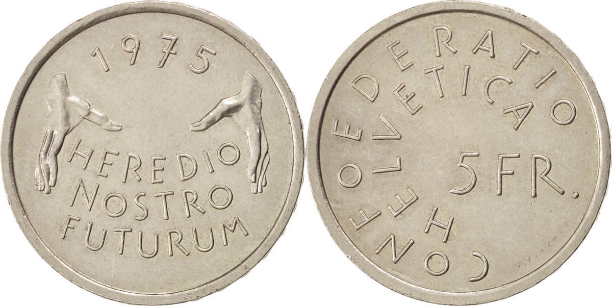 5 Francs 1975 Schweiz European Monument Protection Year MS(60-62)