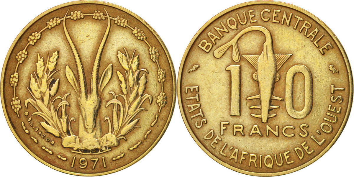 10 Francs 1971 (a) West African States EF(40-45)