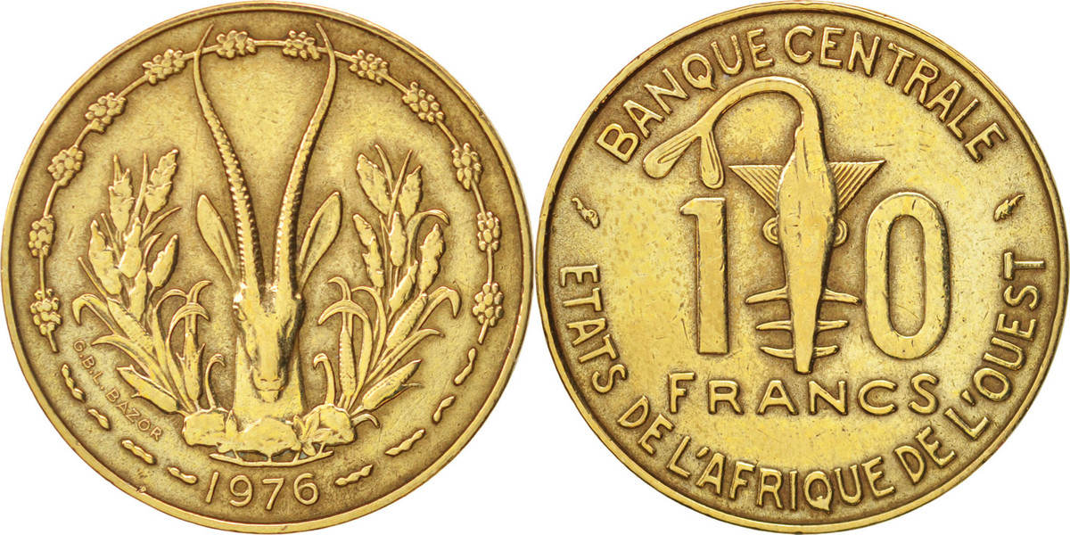 10 Francs 1976 (a) West African States EF(40-45)