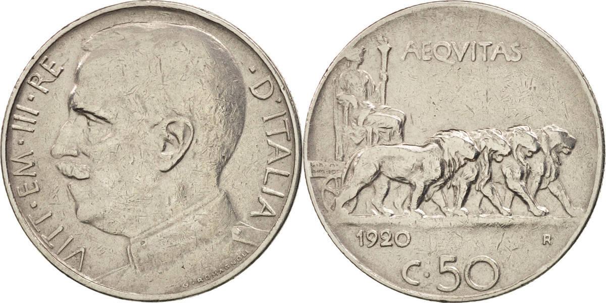 50 Centesimi 1920 R Italien Vittorio Emanuele III EF(40-45)