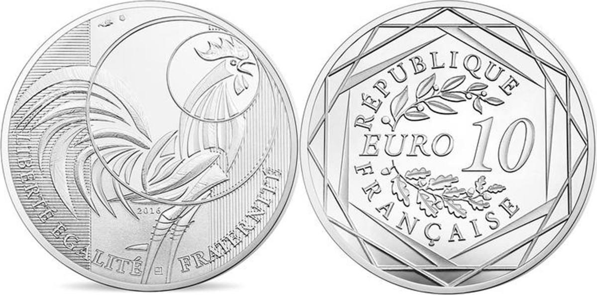 10 Euro 2016 Paris Frankreich Monnaie de Paris, 10 Euro Coq, Silver, PROOF STGL