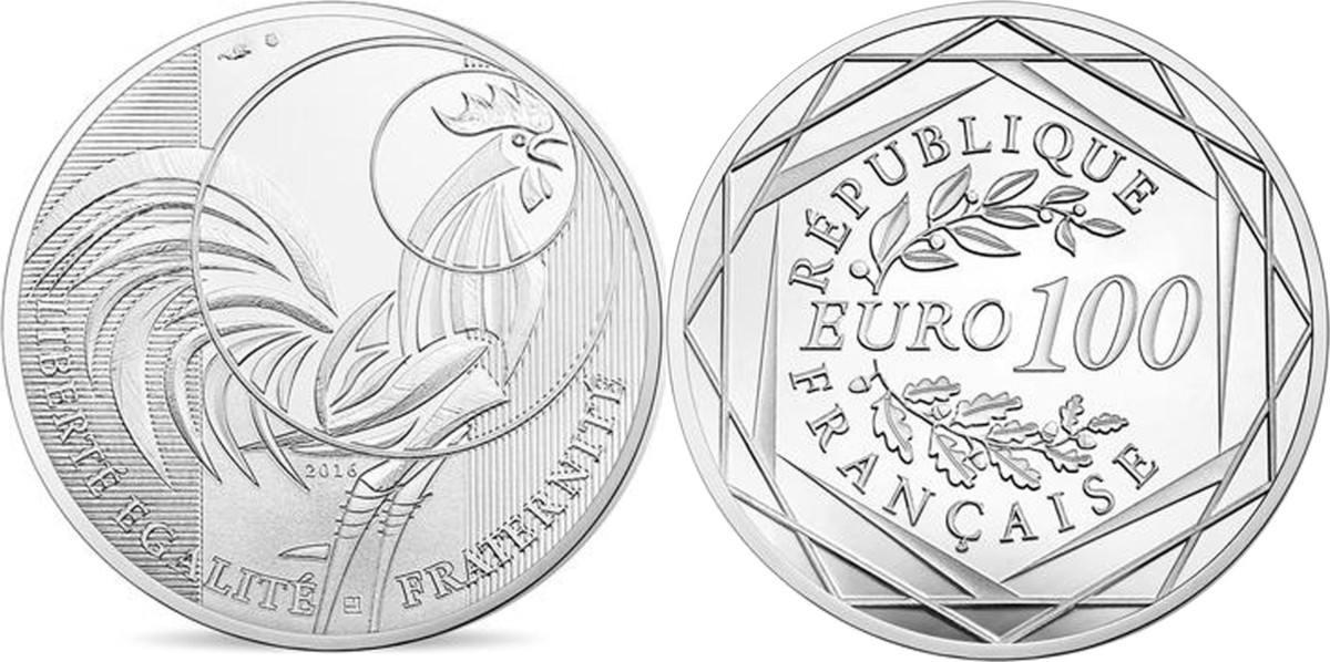 100 Euro 2016 Paris Frankreich Monnaie de Paris, Coq, Silver STGL