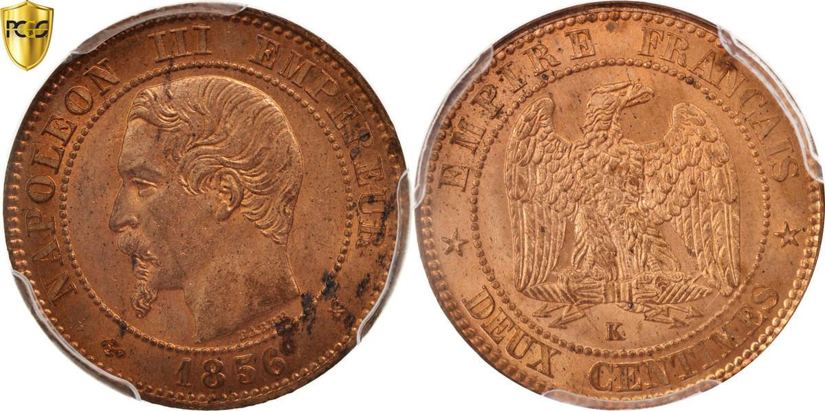 2 Centimes 1856 A Frankreich Napoléon III Napoleon III MS(64)