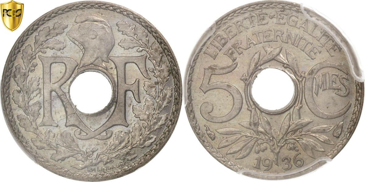 5 Centimes 1936 Paris Frankreich Lindauer MS(64)