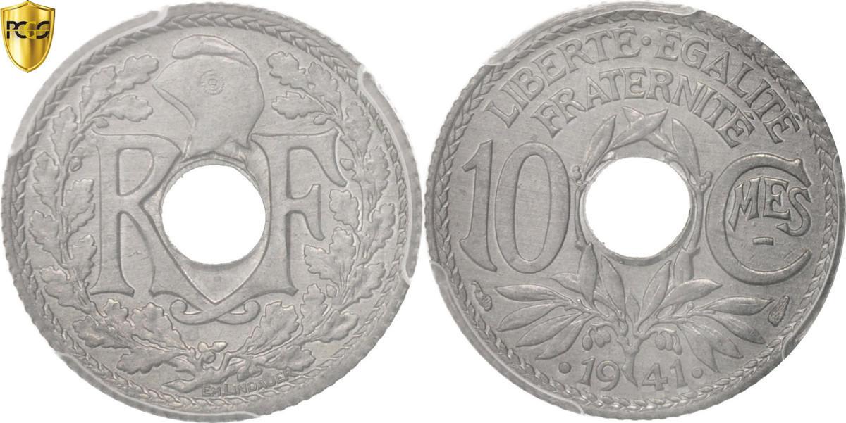 10 Centimes 1941 Paris Frankreich MS(65-70)