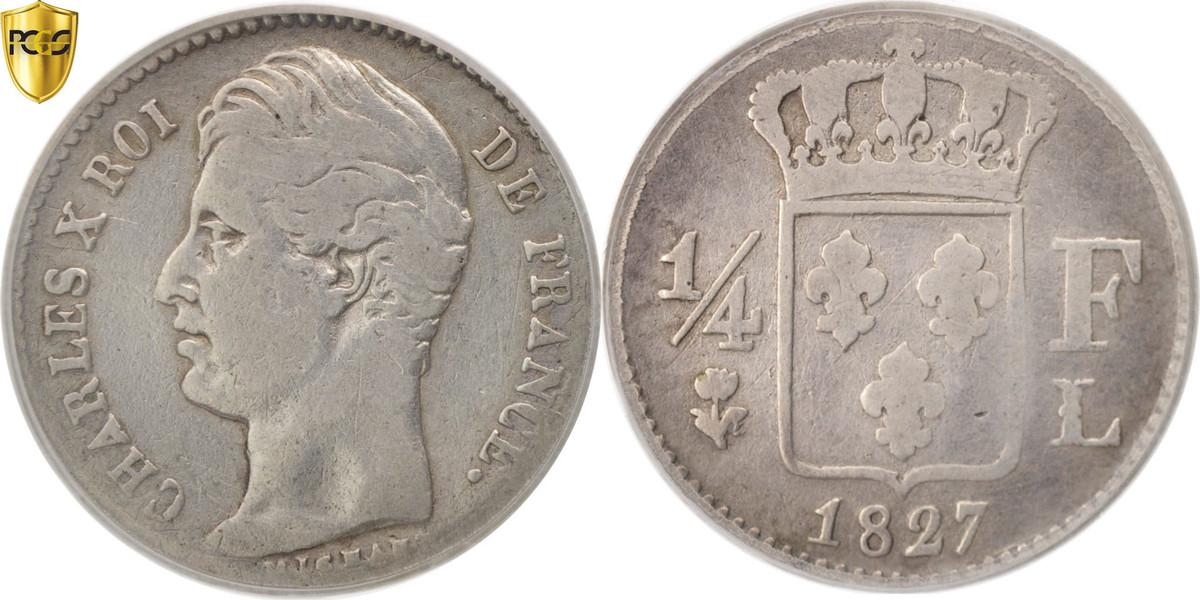 1/4 Franc 1827 L Frankreich Charles X VF(20-25)