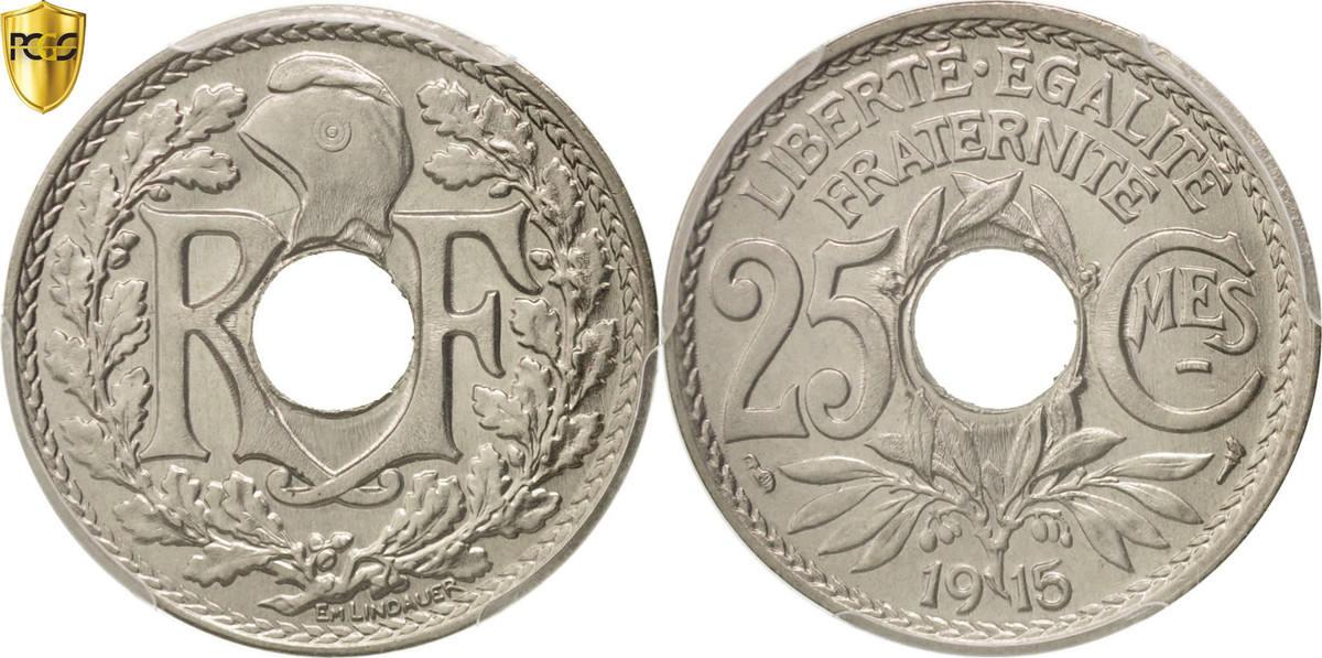 25 Centimes 1915 Paris Frankreich Lindauer MS(64)