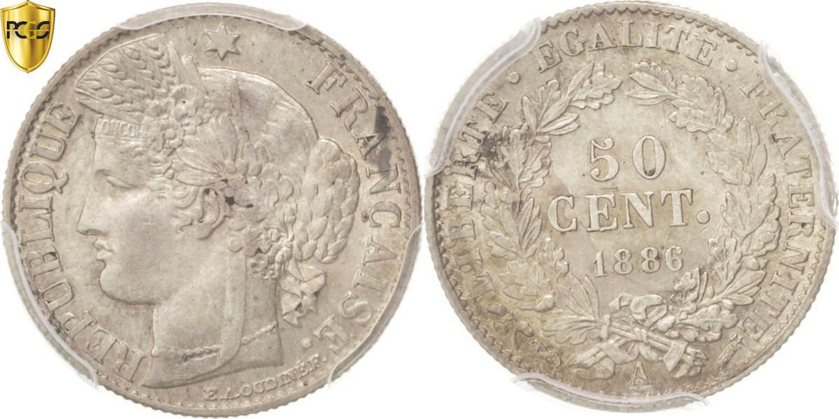 50 Centimes 1886 A Frankreich Cérès AU(55-58)