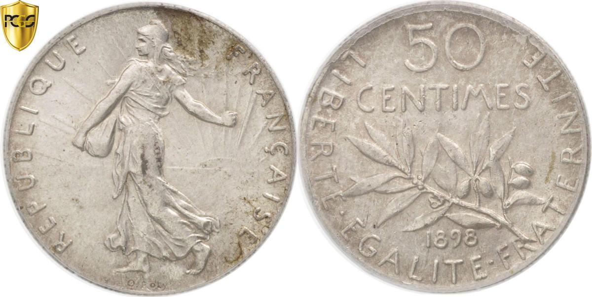 50 Centimes 1898 Paris Frankreich Semeuse MS(63)