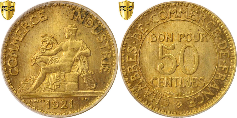 50 Centimes 1921 Paris Frankreich Chambre de commerce MS(64)