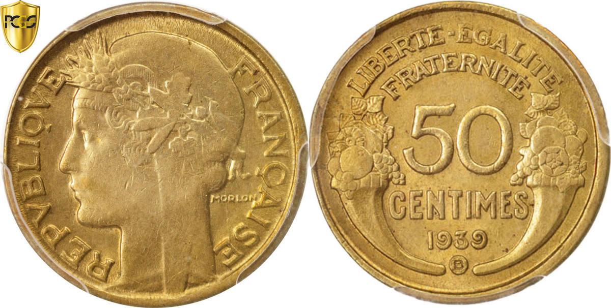 50 Centimes 1939 B Frankreich Morlon AU(55-58)