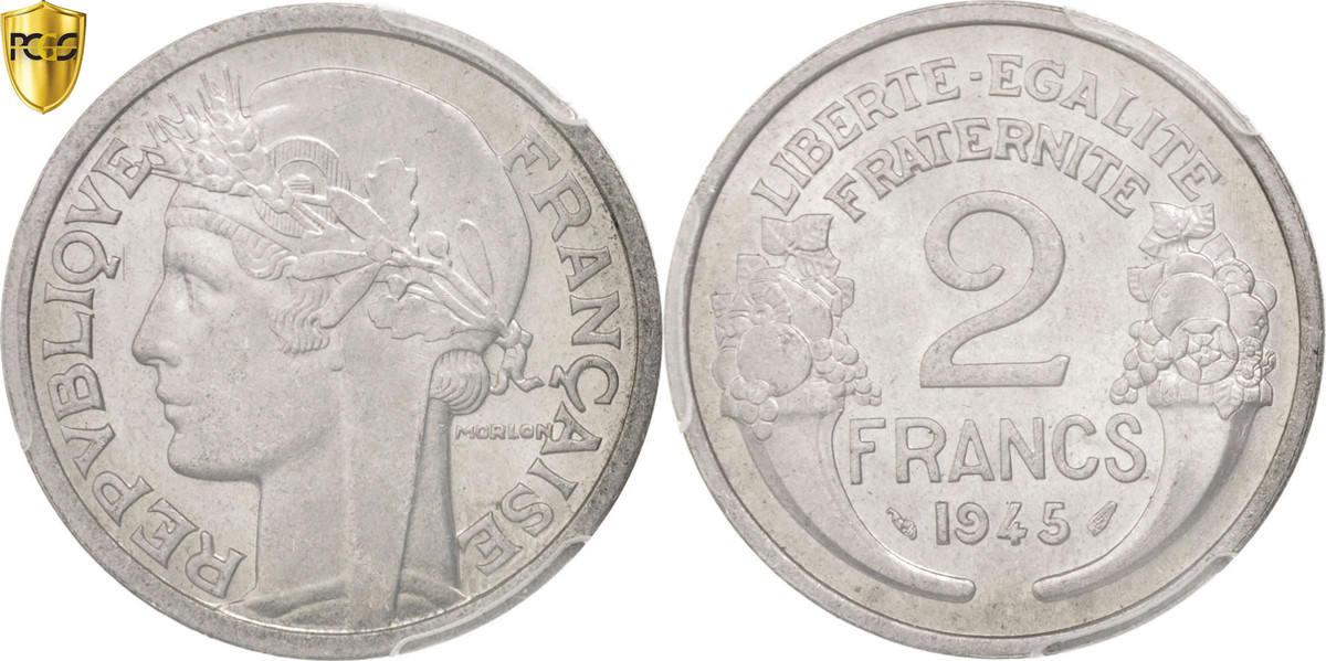 2 Francs 1945 Paris Frankreich Morlon MS(63)