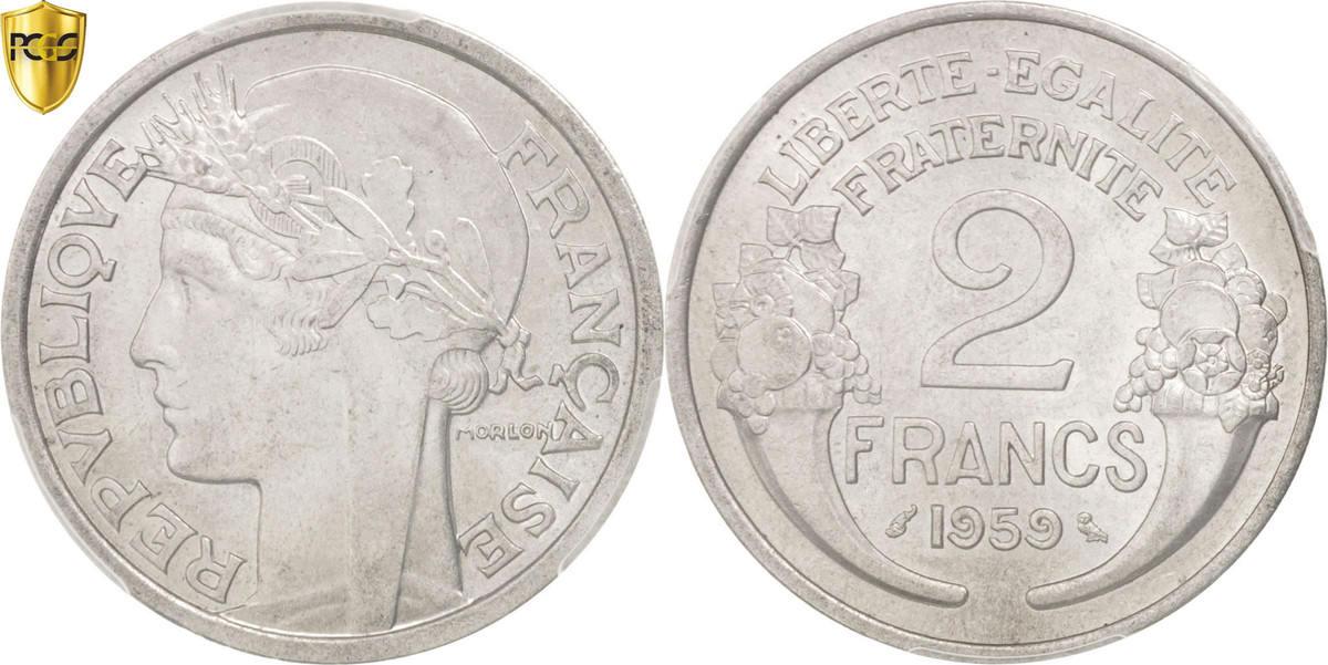 2 Francs 1959 Paris Frankreich Morlon MS(63)