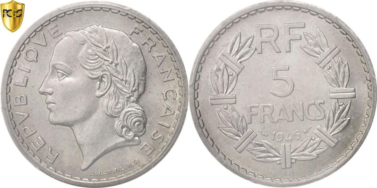 5 Francs 1946 B Frankreich Lavrillier MS(63)