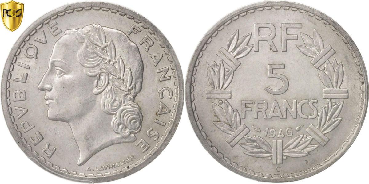5 Francs 1946 C Frankreich Lavrillier MS(60-62)