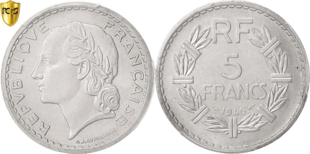 5 Francs 1946 Paris Frankreich Lavrillier MS(63)