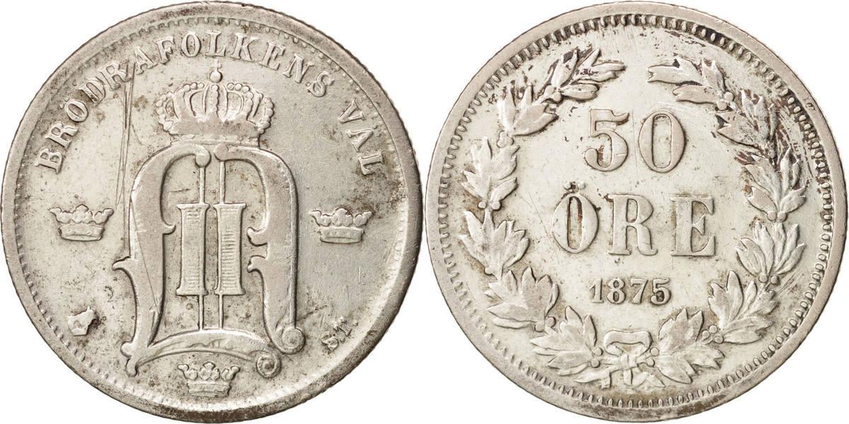 50 Öre 1875 Schweden Oscar II VF(30-35)