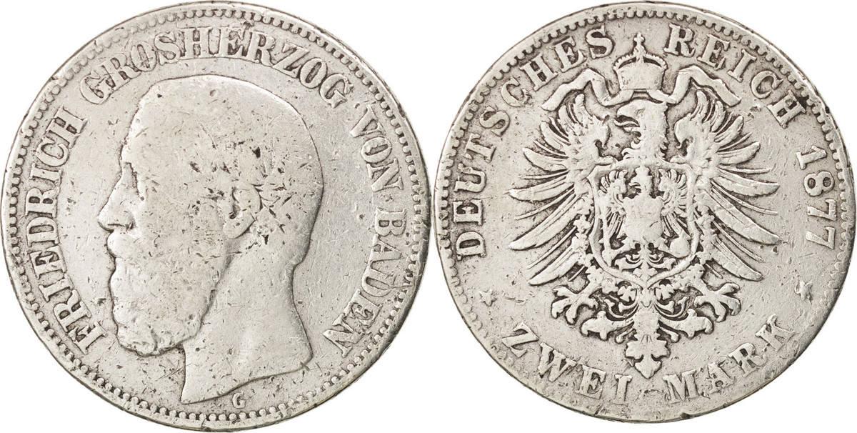 2 Mark 1877 G Deutsch Staaten BADEN, Friedrich I, Stuttgart, KM:265 S