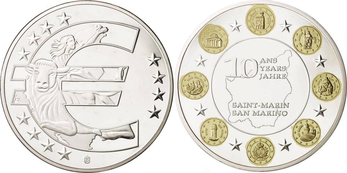 Medal San Marino 10 ans de l'Euro, VZ+, Copper Plated Silver VZ+