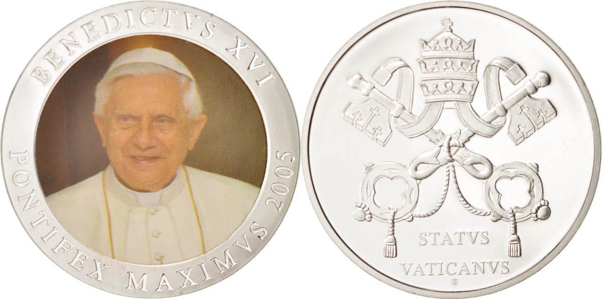 Medal Vatikan Benoit XVI, STGL, Copper Plated Silver STGL
