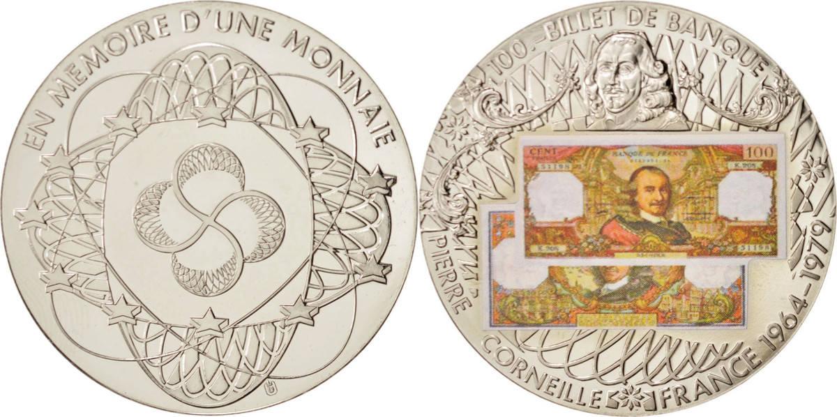 Medal Frankreich En mémoire, 100 Fr Corneille, STGL, Maillechort STGL
