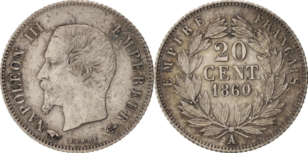 20 Centimes 1860 A Frankreich Napoleon III, Paris, SS+, Silber, KM:778.1 SS+