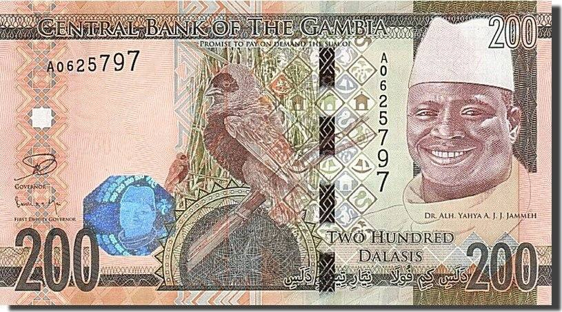 200 Francs 2015 Gambia 200 Dalasis, 2015, UNZ UNZ