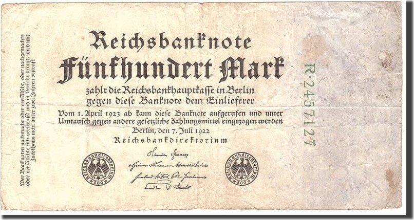 500 Mark 1922 Deutschland KM:74b, 1922-07-07, S S