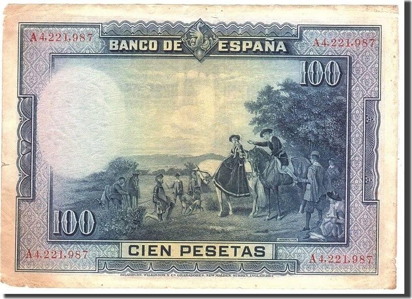 100 Pesetas 1928 Spanien VF(20-25)