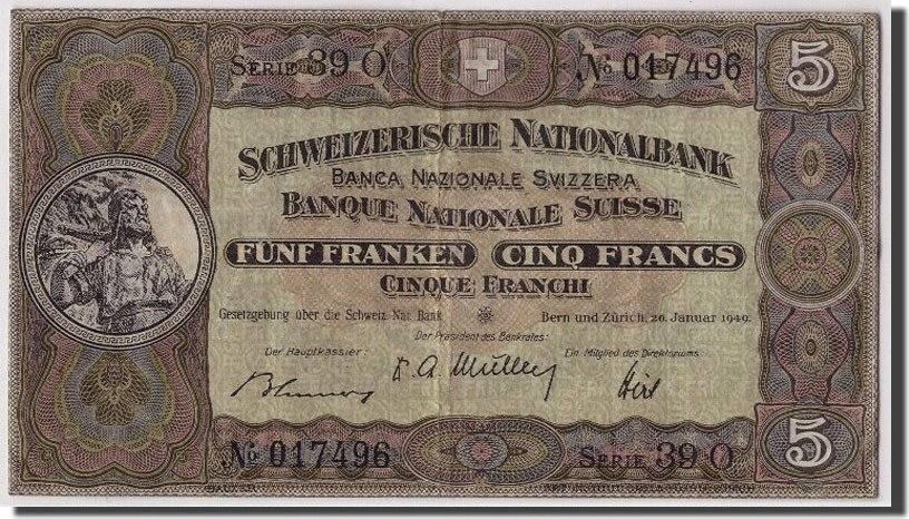 5 Franken 1949 Schweiz 1949-01-20, KM:11n, SS+ SS+