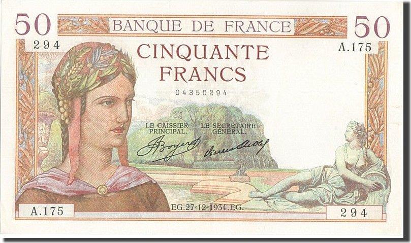 50 Francs 1934 Frankreich UNC(60-62)