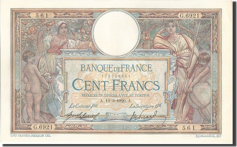 100 Francs 1920 Frankreich UNC(60-62)