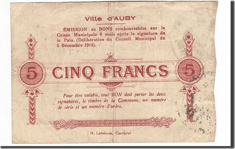 5 Francs 1914 Frankreich Auby, SS, Pirot:59-157 SS