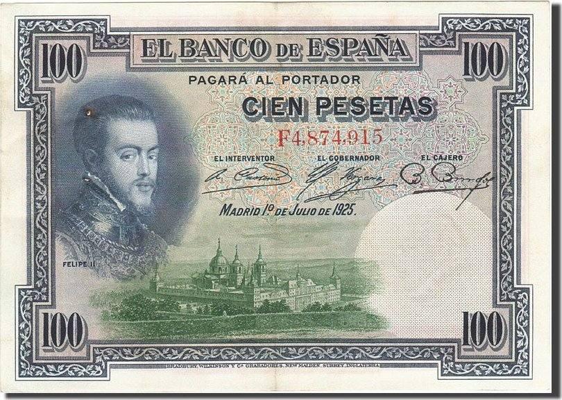 100 Pesetas 1925 Spanien KM:69c, 1925-07-01, SS+ SS+