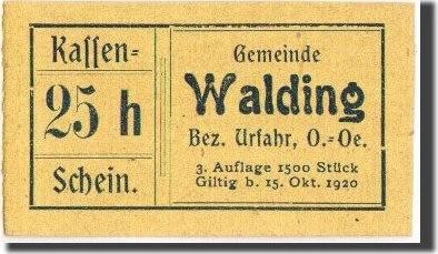 25 Heller 1920-10-15 Österreich Walding, Notgeld, Pick UNL, UNZ UNZ
