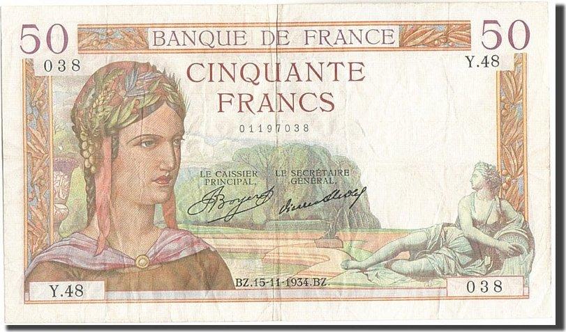 50 Francs 1934 Frankreich VF(30-35)