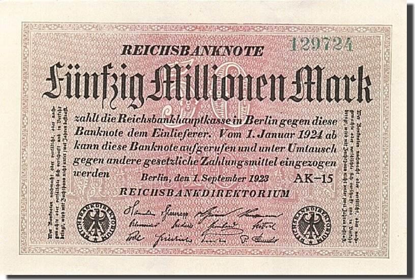 50 Millionen Mark 1923 Deutschland UNC(63)